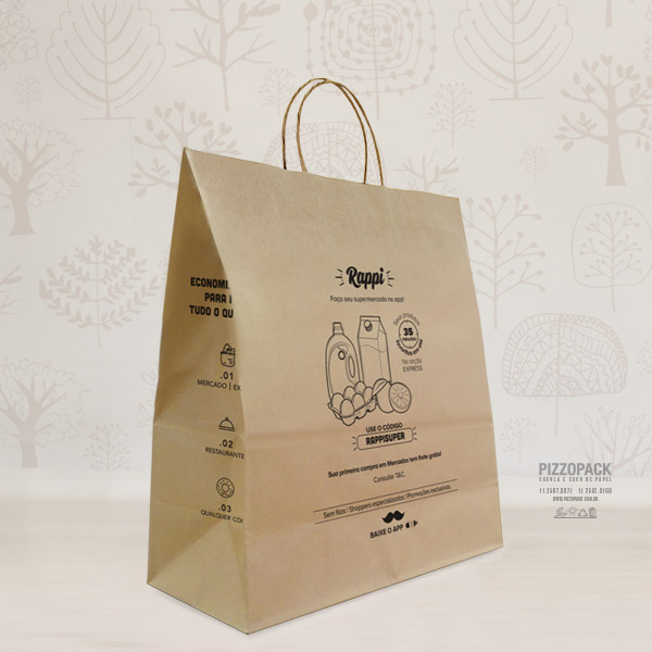 sacolas de papel kraft personalizada
